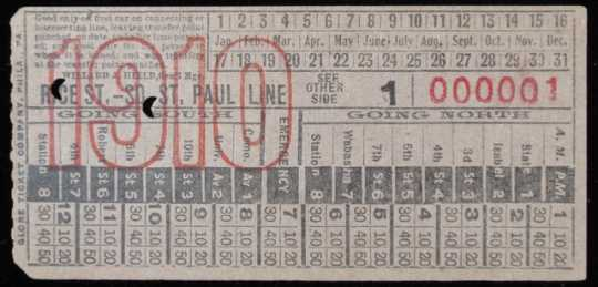 Color image of a streetcar transfer ticket, 1910.