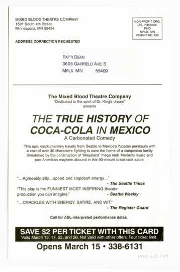 """Handbill for """"The True Story of Coca Cola in Mexico"""""""