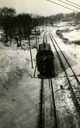 Black and white photograph of the Luce Line in Wirth Park, Golden Valley, Minnesota, ca. 1935–1939.