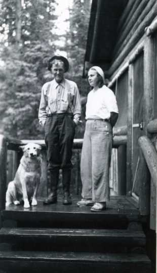 Black and white photograph of Dorothy Molter and Bill Berglund, ca. 1930s.