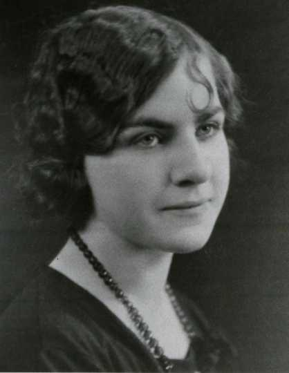 Black and white photograph of Dorthy Molter in high school, ca. 1925.
