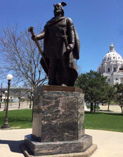 Sculpture with Morton gneiss base on the Minnesota State Capitol grounds