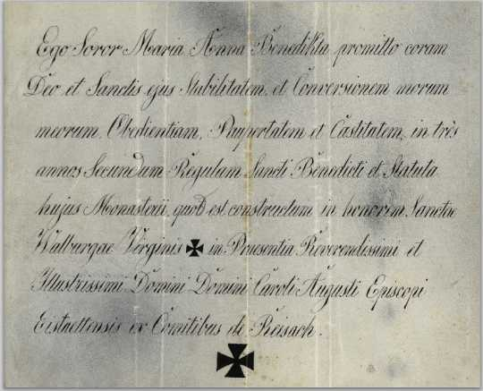 Color scan of Latin vows signed by Mother Benedicta Riepp,1846.