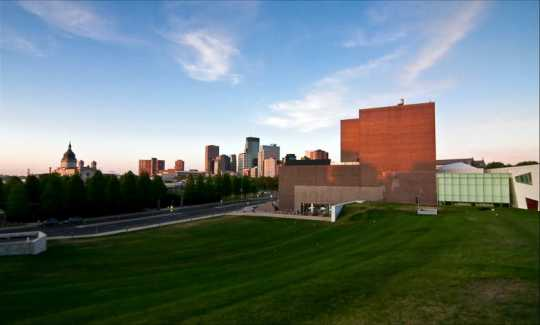Walker Art Center and Minneapolis skyline