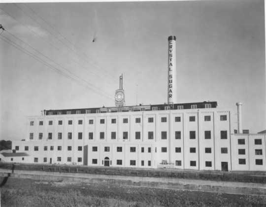 Black and white photograph of an exterior view of the American Crystal Sugar factory in Chaska. Date and photographer unknown.