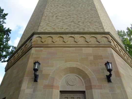Color image of a detail view of the exterior of St. Paul's Highland water tower designed by Clarence Wigington and built in 1928. Photographed by Paul Nelson on August 4, 2014.