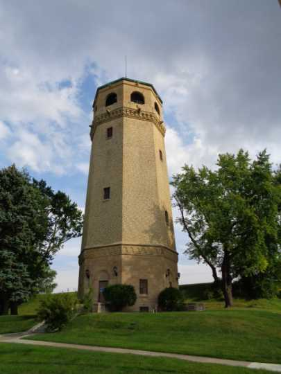 Color image of the exterior of St. Paul's Highland water tower designed by Clarence Wigington and built in 1928. Photographed by Paul Nelson on August 4, 2014.