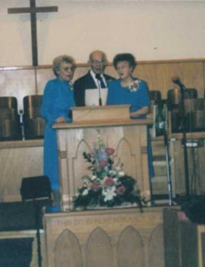 Color image of Members of the Dorcas Circle at the Carson Mennonite Brethren Church Centennial celebration, 1975.