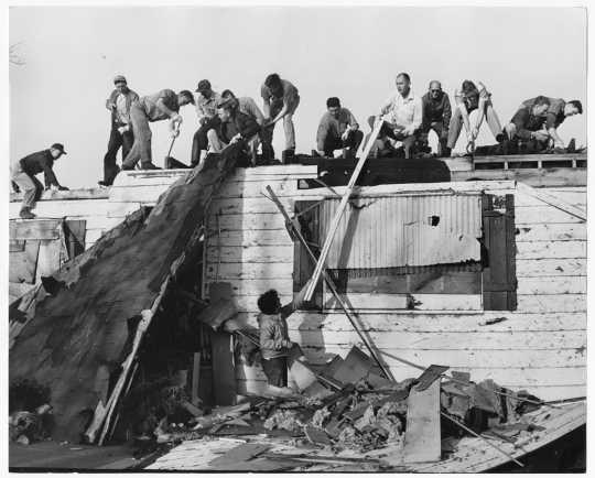 Demolition volunteers after Fridley tornado
