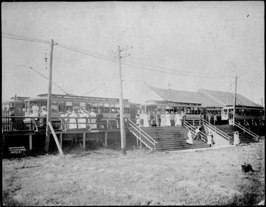 Streetcar station, Wildwood Amusement Park, c.1915.