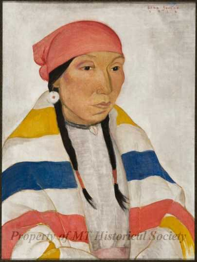 Color image of Portrait of An Indian Male, oil-on-canvas painting by Elsa Jemne, 1926.